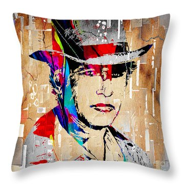 Paul Newman Collection Throw Pillow by Marvin Blaine