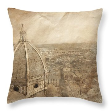 Piazza Del Duomo With Basilica Of Saint Throw Pillow