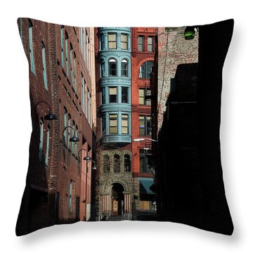 Pioneer Square Alleyway Throw Pillow by David Patterson
