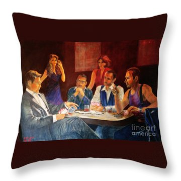 Pokertable Throw Pillow by Dagmar Helbig