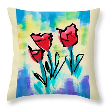 Throw Pillow featuring the digital art 3 Poppies by Frank Bright