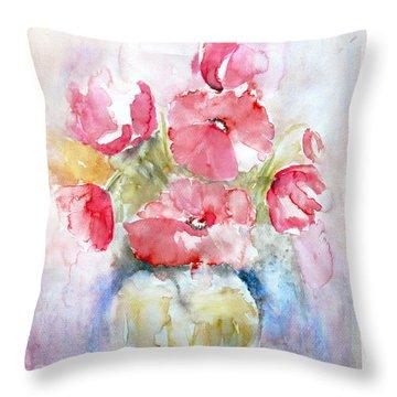 Poppies Throw Pillow by Jasna Dragun