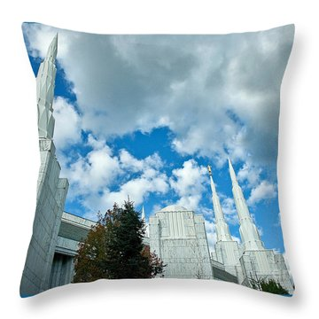 Throw Pillow featuring the photograph Portland Oregon Lds Temple by Nick  Boren