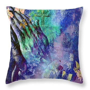 Praying Hands Flowers And Cross Throw Pillow