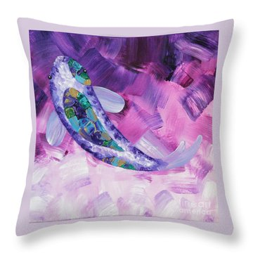 Purple Koi Throw Pillow
