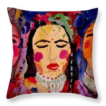 Throw Pillow featuring the painting 3 Queens Of Color by Amy Sorrell