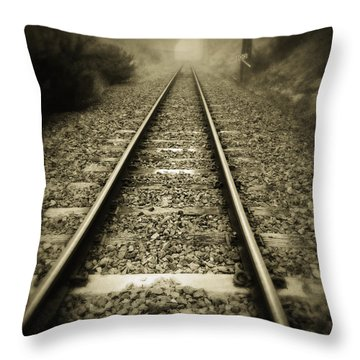 Railway Tracks Throw Pillow by Les Cunliffe