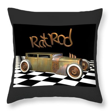 Rat Rod Sedan Throw Pillow by Stuart Swartz