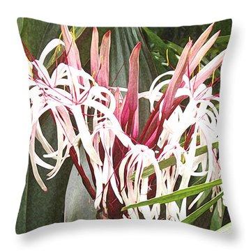 Queen Emma Crinum Lilies Throw Pillow