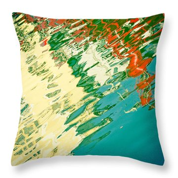 Reflection In Water Of Red Boat Throw Pillow