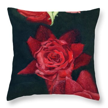 3 Roses Red Throw Pillow by Katherine Miller