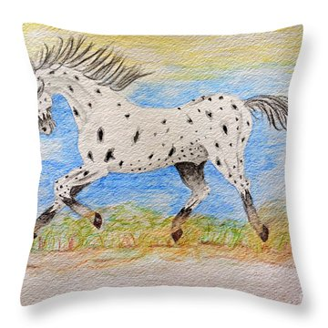 Running Free Throw Pillow by Debbie Portwood