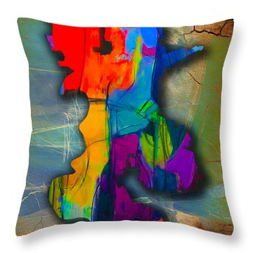 Sacramento Map And Skyline Watercolor Throw Pillow
