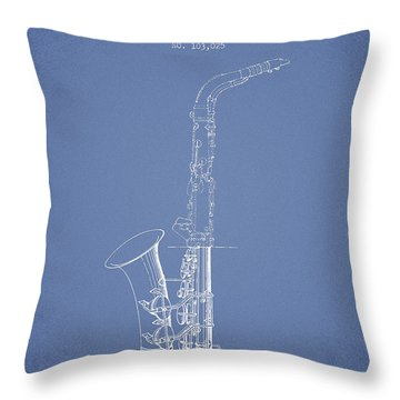 Saxophone Patent Drawing From 1937 - Light Blue Throw Pillow by Aged Pixel