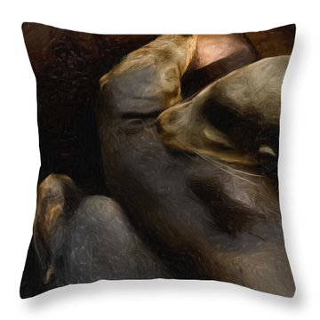 3 Sea Lions Throw Pillow by Jack Zulli