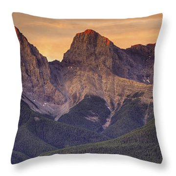 3 Sisters Canmore Alberta Throw Pillow