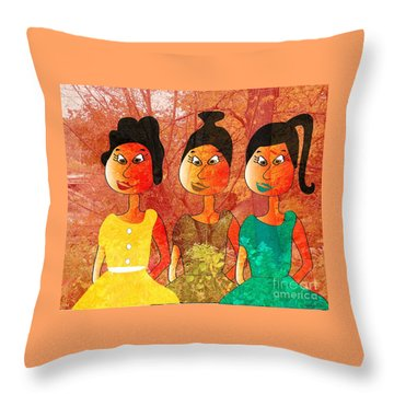 Sisters Throw Pillow by Iris Gelbart
