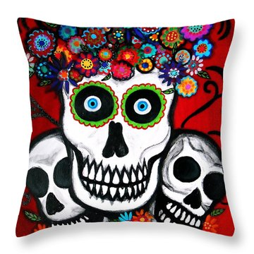 3 Skulls Throw Pillow by Pristine Cartera Turkus