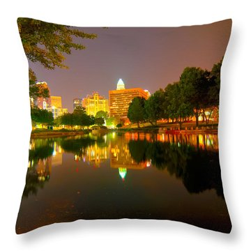 Throw Pillow featuring the photograph Skyline Of Uptown Charlotte North Carolina At Night by Alex Grichenko