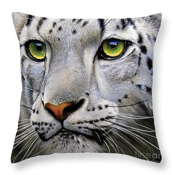 Snow Leopard Throw Pillow by Jurek Zamoyski