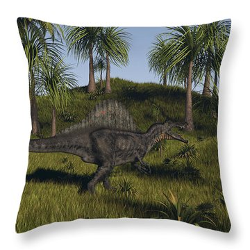 Spinosaurus Hunting In An Open Field Throw Pillow by Kostyantyn Ivanyshen