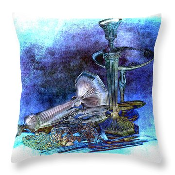 Sterling Silver Scrap Throw Pillow by Gunter Nezhoda