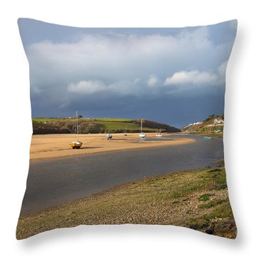 Throw Pillow featuring the photograph Storm Approaches The Gannel Estuary Newquay Cornwall by Nicholas Burningham
