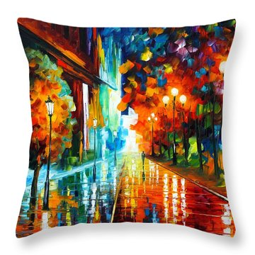 Street Of Hope Throw Pillow by Leonid Afremov