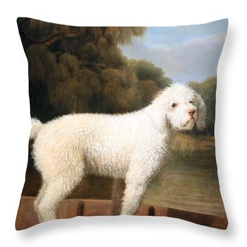 Stubbs' White Poodle In A Punt Throw Pillow