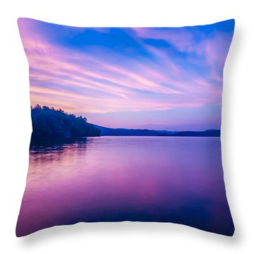 Sunset During Blue Hour At The Lake Throw Pillow