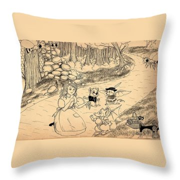 Throw Pillow featuring the drawing Tammy  Meets Cedric The Mongoose by Reynold Jay
