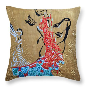 The Annunciation Throw Pillow by Gloria Ssali