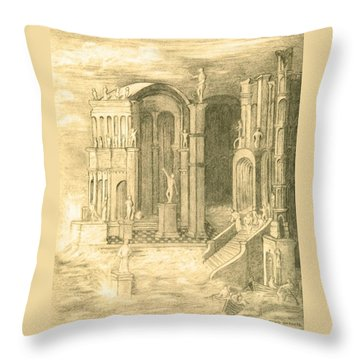 The Fall Of Atlantis Throw Pillow by Ellen Henneke