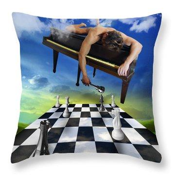 The Piano Throw Pillow by Mark Ashkenazi