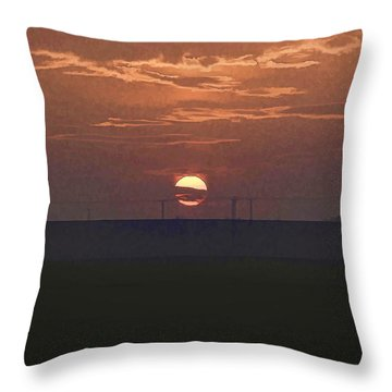 The Setting Sun In The Distance With Clouds Throw Pillow by Ashish Agarwal