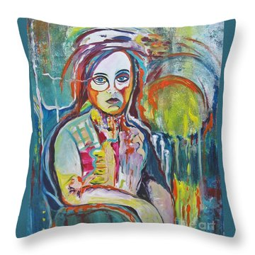 Throw Pillow featuring the painting The Show Must Go On by Diana Bursztein