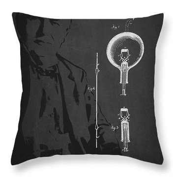 Thomas Edison Electric Lamp Patent Drawing From 1880 Throw Pillow by Aged Pixel