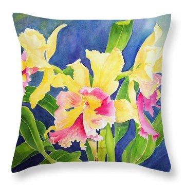 Three Cattleya's Throw Pillow by Kathleen Rutten