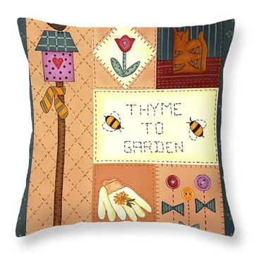 Thyme To Garden Throw Pillow