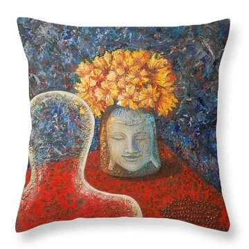 Tibetan Prayers Throw Pillow by Mini Arora