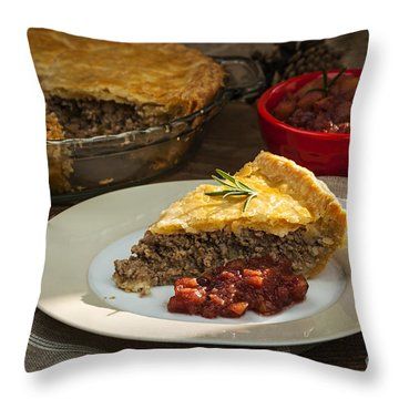 Tourtiere Meat Pie Throw Pillow by Elena Elisseeva