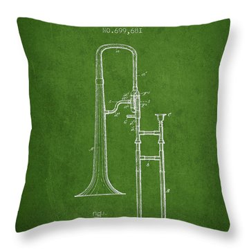 Trombone Patent From 1902 - Green Throw Pillow by Aged Pixel
