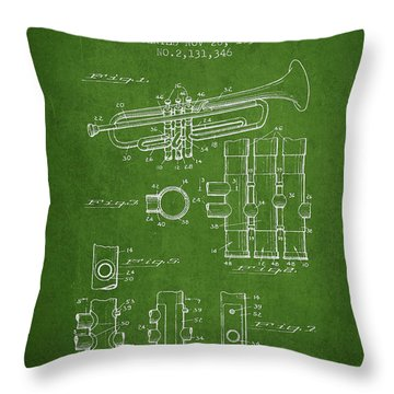 Trumpet Patent From 1939 - Green Throw Pillow by Aged Pixel