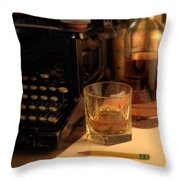 Typewriter And Whiskey Throw Pillow by Jill Battaglia