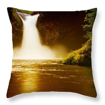 Upper Punch Bowl Falls Throw Pillow by Jeff Swan