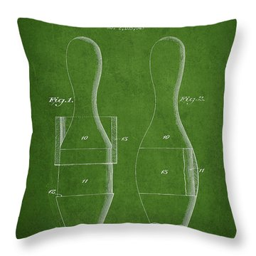 Vintage Bowling Pin Patent Drawing From 1938 Throw Pillow