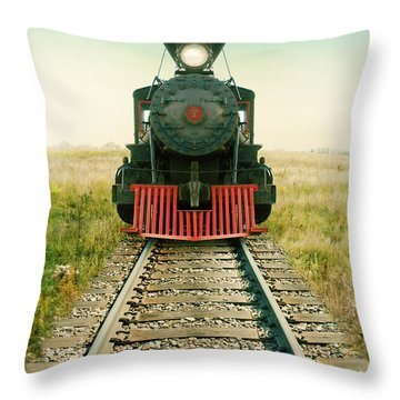Vintage Train Engine Throw Pillow