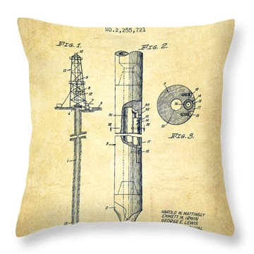 Vintage Well Drilling Rig Patent From 1941 Throw Pillow