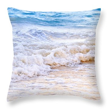 Waves Breaking On Tropical Shore Throw Pillow