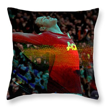 Wayne Rooney Throw Pillow by Marvin Blaine